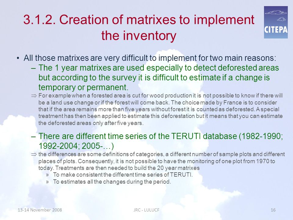 3.1.2. Creation of matrixes to implement the inventory