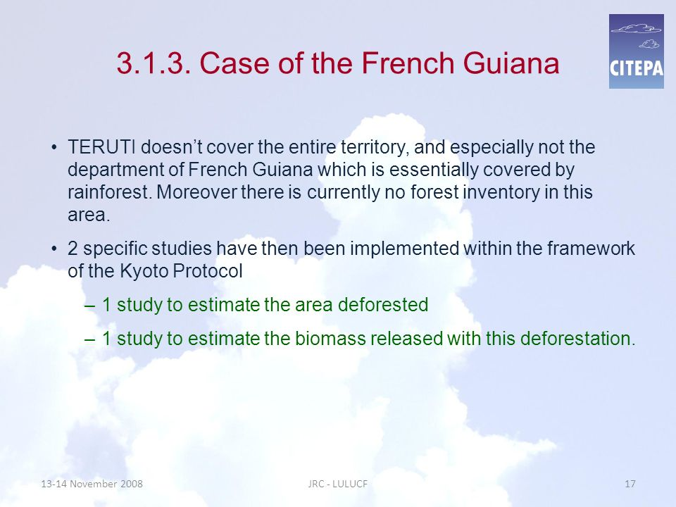 3.1.3. Case of the French Guiana