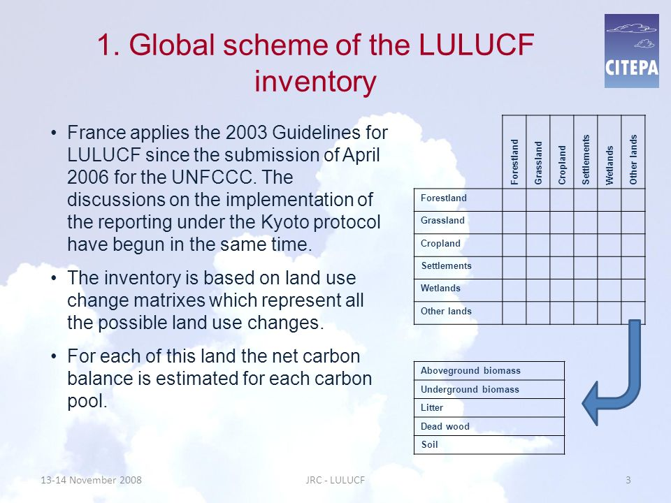 1. Global scheme of the LULUCF inventory
