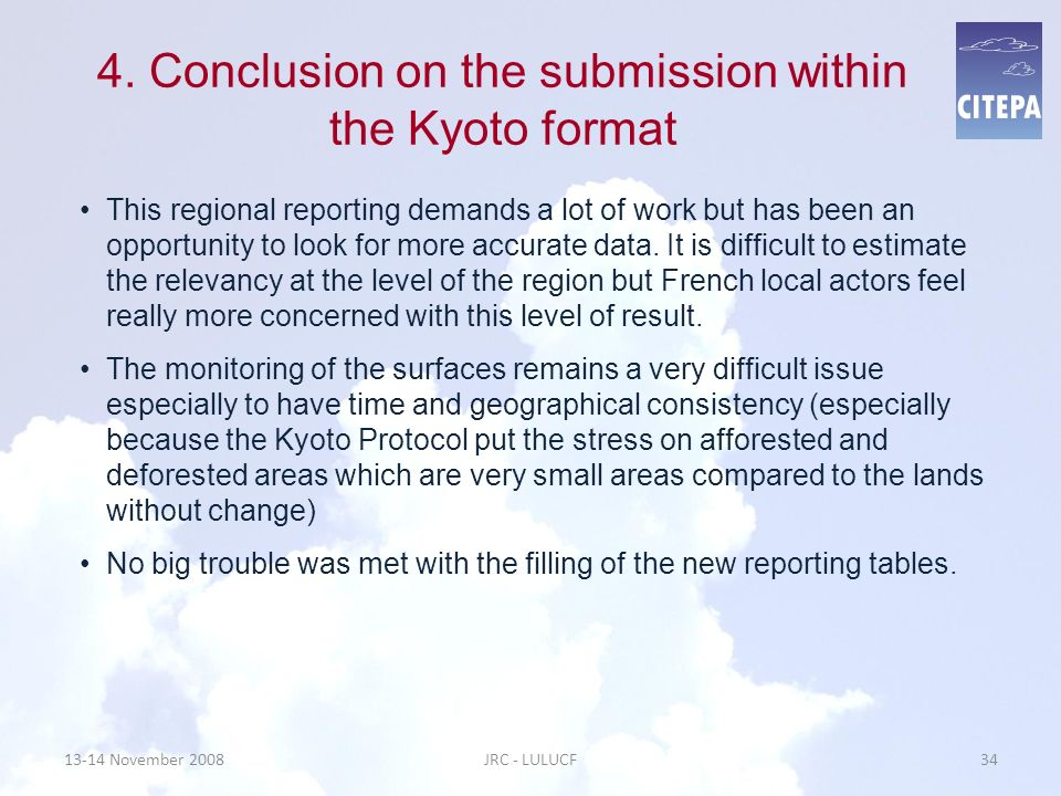 4. Conclusion on the submission within the Kyoto format