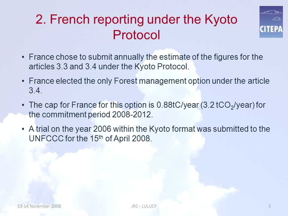 2. French reporting under the Kyoto Protocol