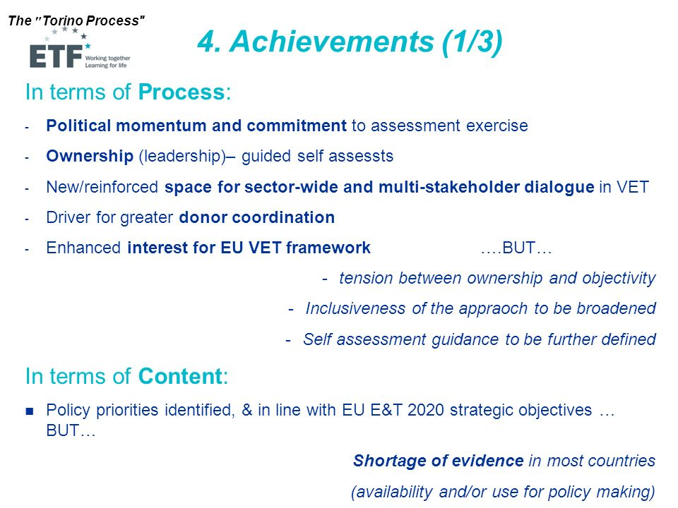 4. Achievements (1/3) In terms of Process: In terms of Content: