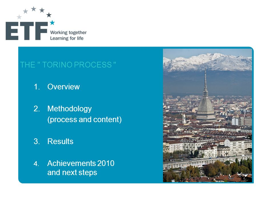THE TORINO PROCESS 1. Overview 2. Methodology