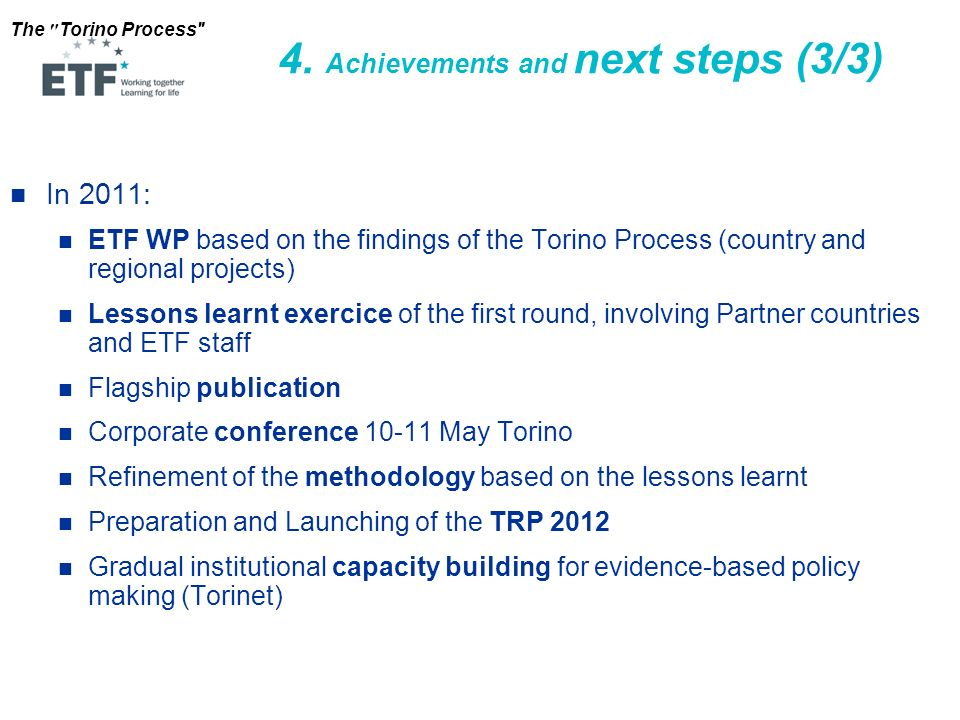 4. Achievements and next steps (3/3)