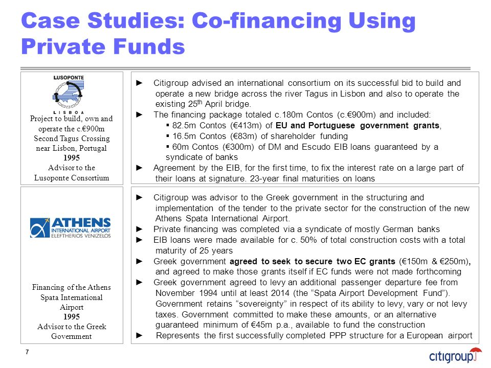 Case Studies: Co-financing Using Private Funds