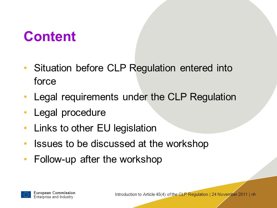 Content Situation before CLP Regulation entered into force