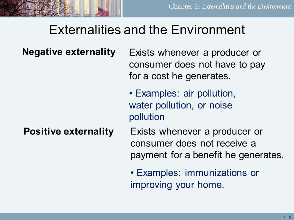the arising of environment negative externality economics essay The concept of environmental externalities in economics in recent years, economist have reluctantly added new variable in their economic thinking to account for the side-effects induced by the production of goods (hokikian, 2002.