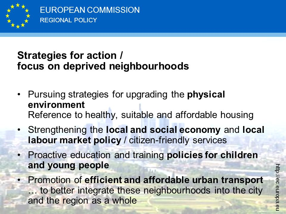 Strategies for action / focus on deprived neighbourhoods
