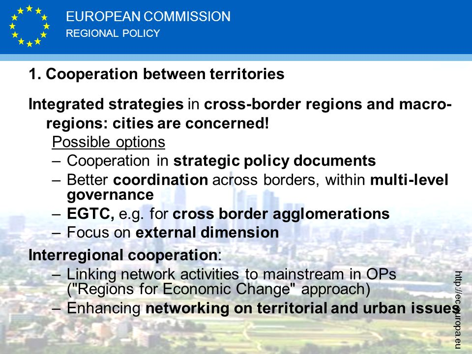 1. Cooperation between territories