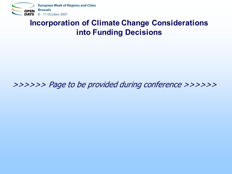 Incorporation of Climate Change Considerations into Funding Decisions