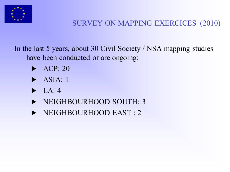 SURVEY ON MAPPING EXERCICES (2010)