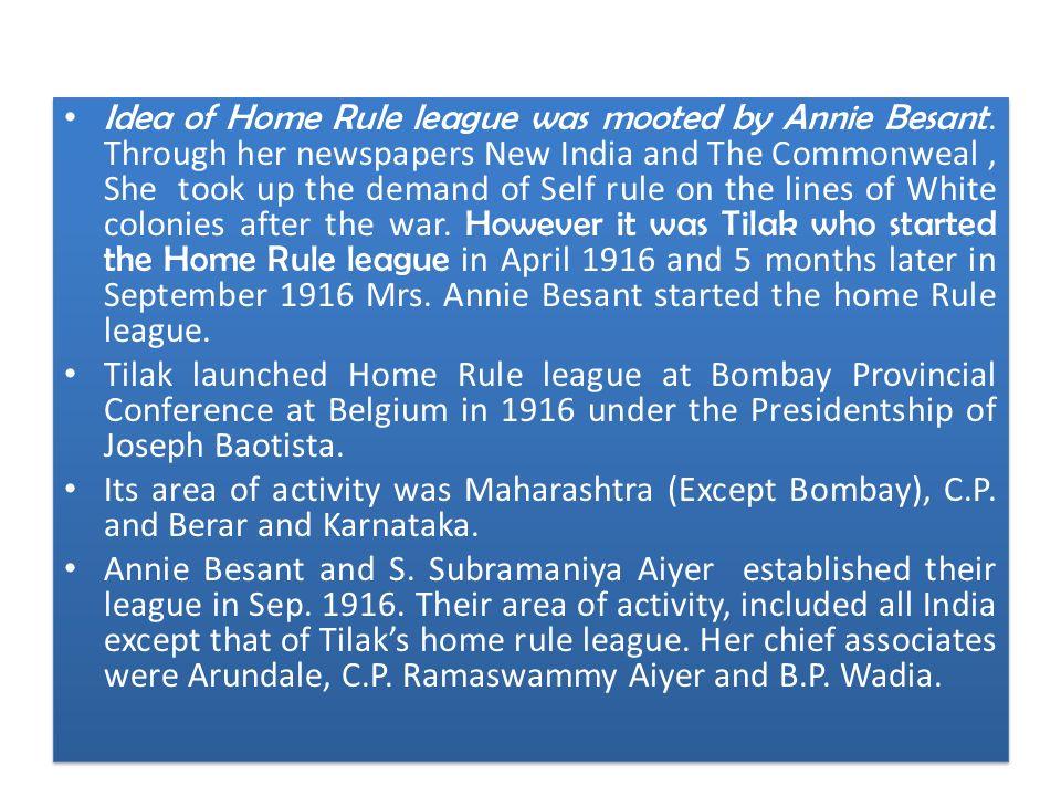 home rule league movement