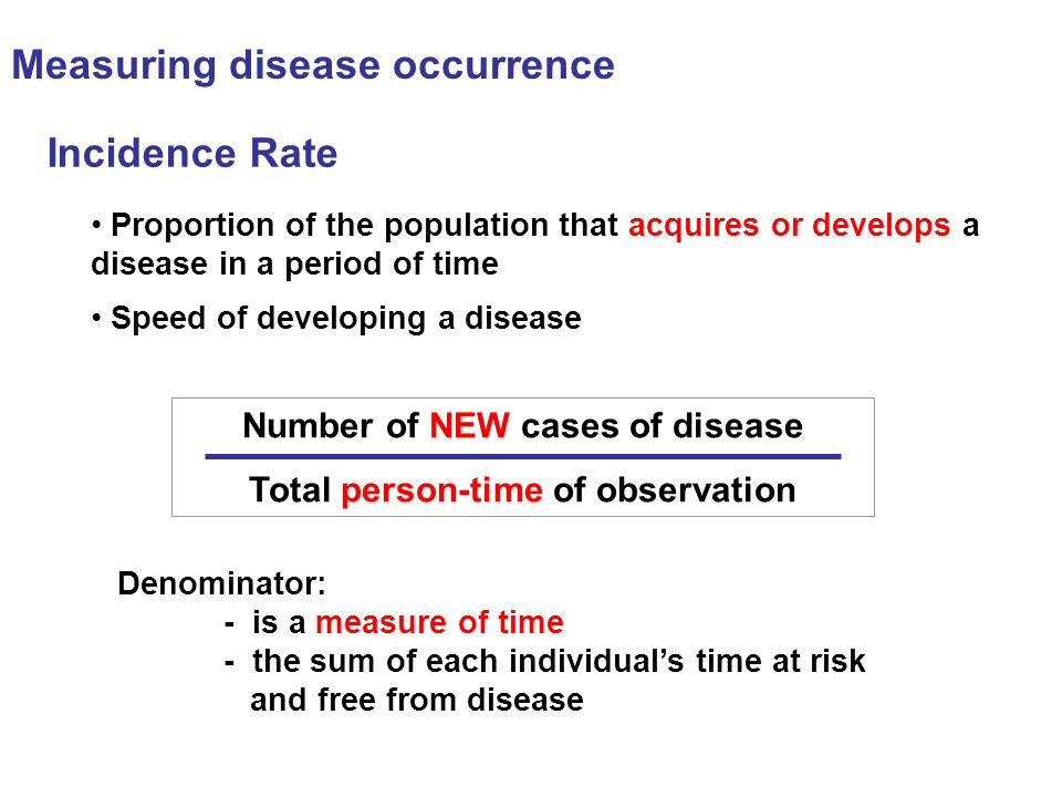 Number of NEW cases of disease Total person-time of observation