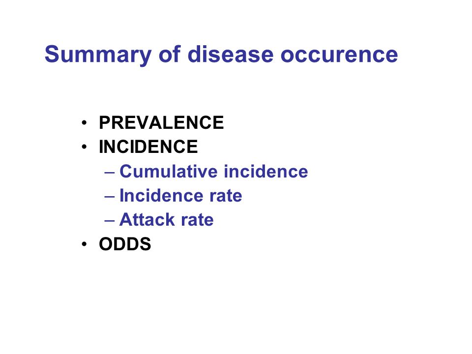 Summary of disease occurence