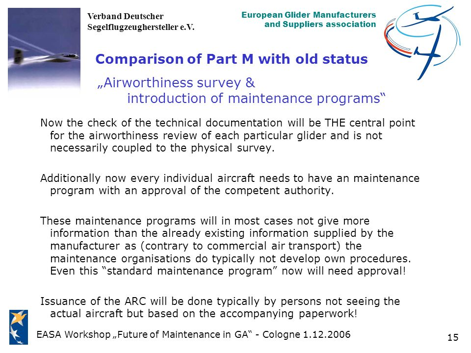 "Comparison of Part M with old status ""Airworthiness survey & introduction of maintenance programs"