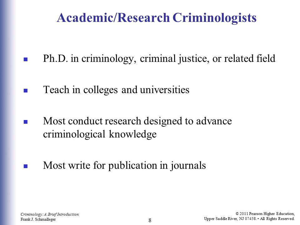 Academic/Research Criminologists