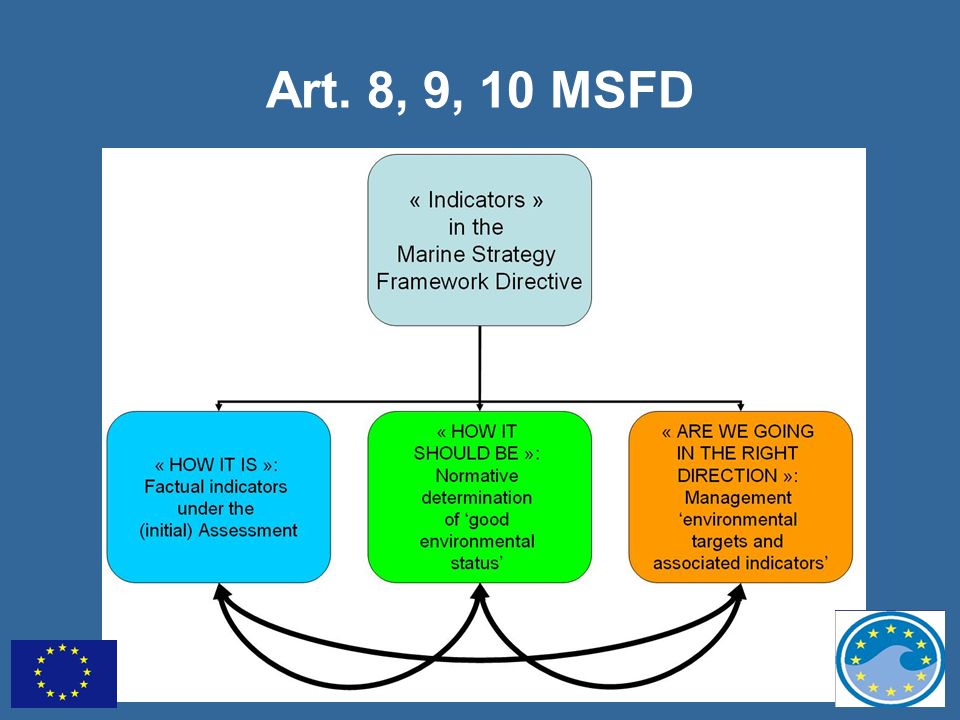 Art. 8, 9, 10 MSFD Generally speaking, the broad notion of 'indicators' has different functions under the MSFD: