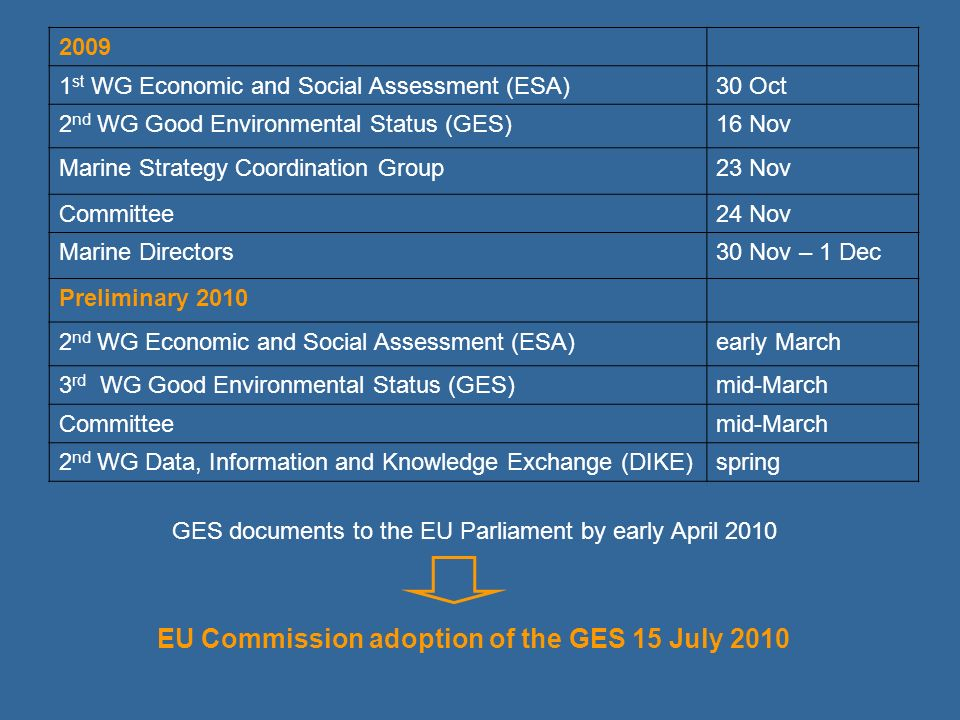 EU Commission adoption of the GES 15 July 2010