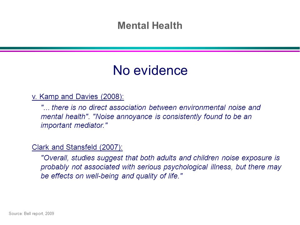 No evidence Mental Health v. Kamp and Davies (2008):