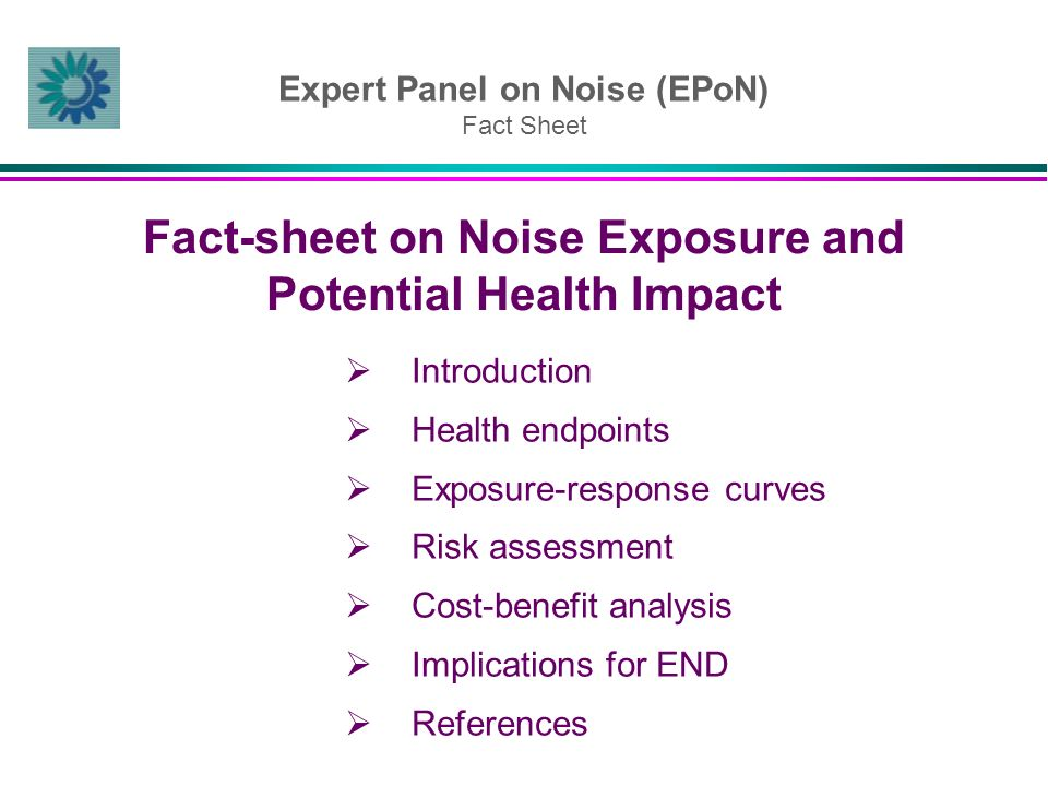 Expert Panel on Noise (EPoN) Fact Sheet