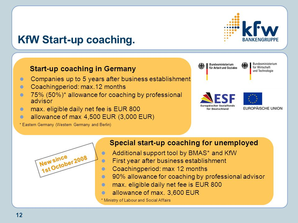 KfW Start-up coaching. Start-up coaching in Germany