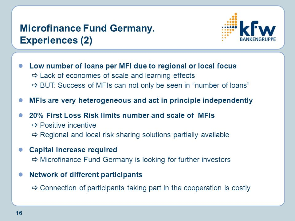 Microfinance Fund Germany. Experiences (2)