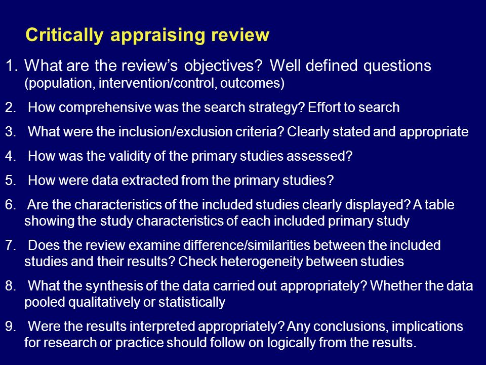 Critically appraising review