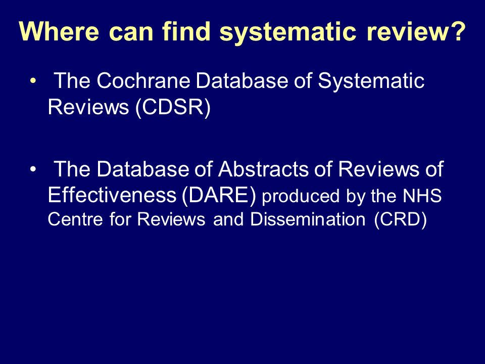 Where can find systematic review