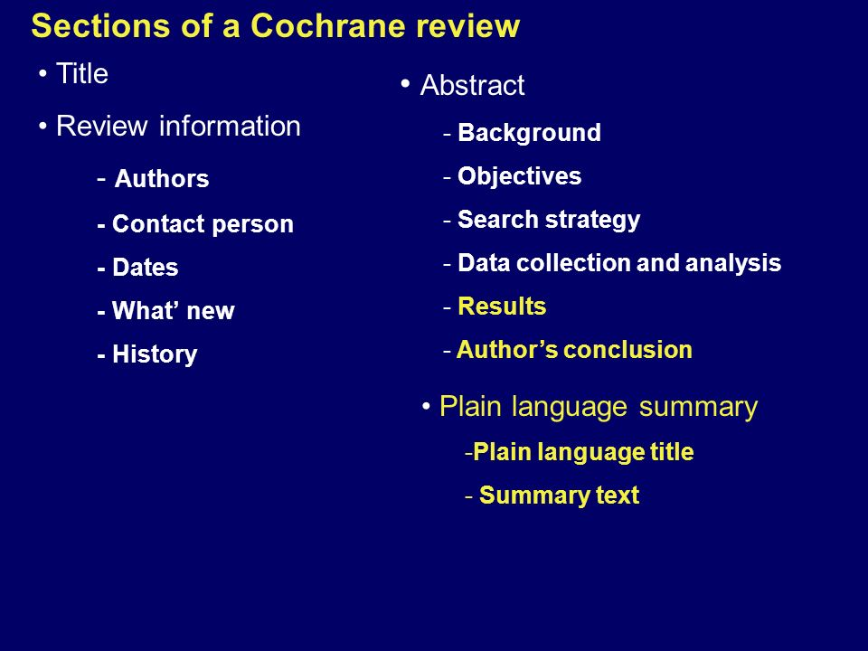 Sections of a Cochrane review