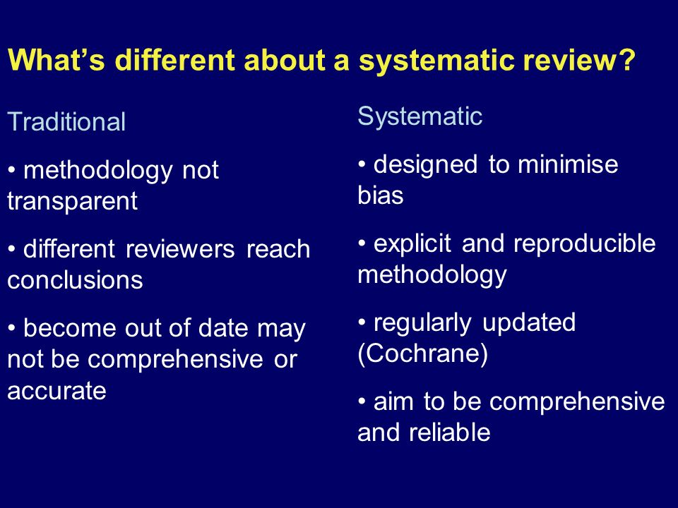 What's different about a systematic review