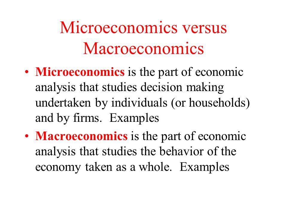 microeconomics examples vs macroeconomics examples
