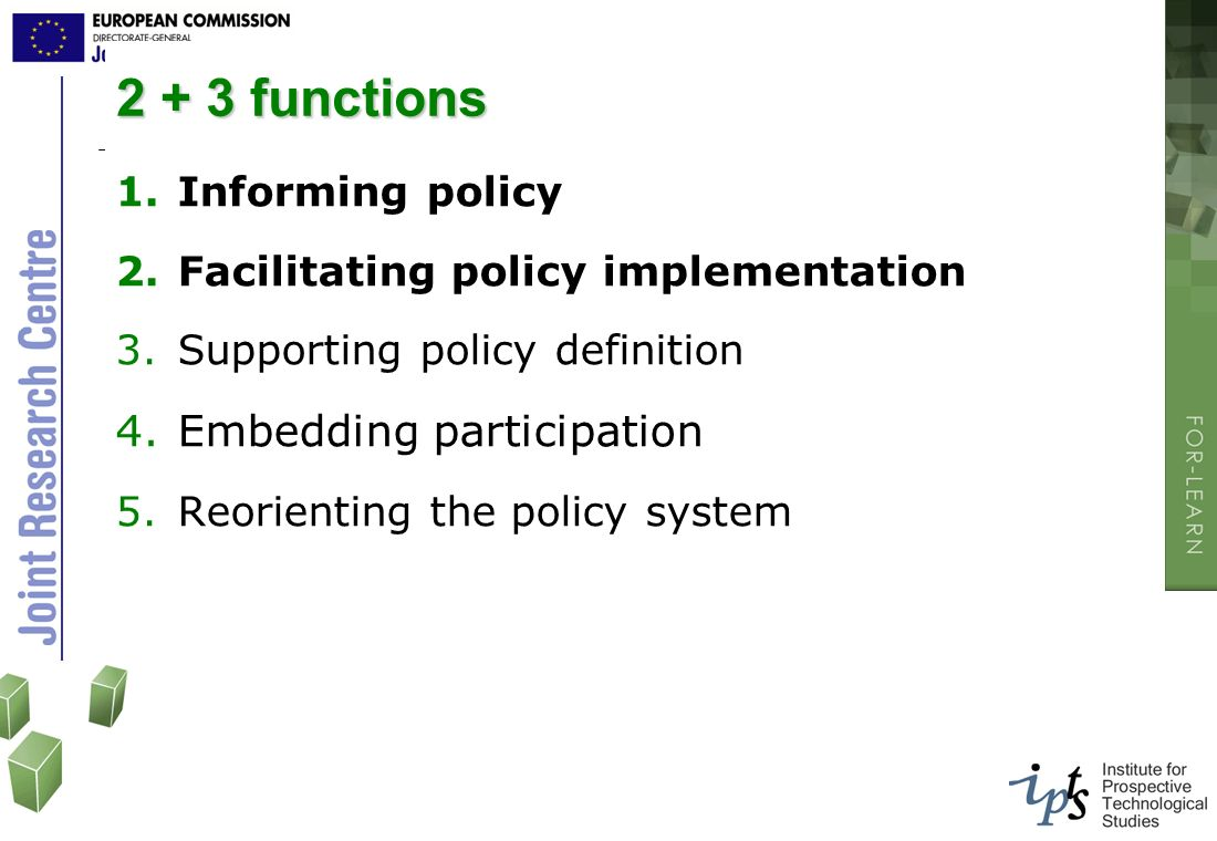 2 + 3 functions Embedding participation Informing policy