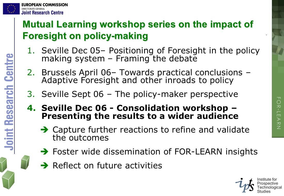 Mutual Learning workshop series on the impact of Foresight on policy-making