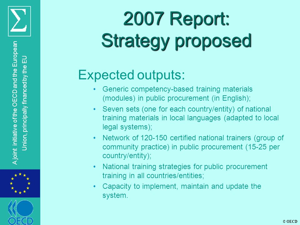2007 Report: Strategy proposed