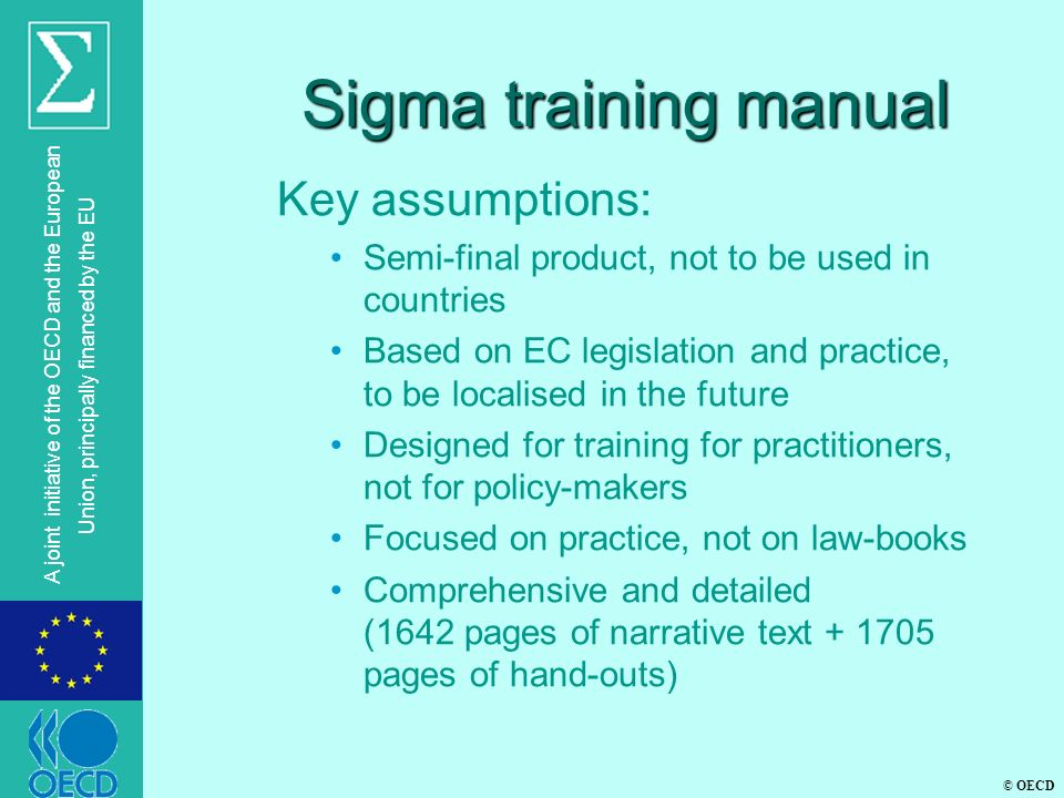 Sigma training manual Key assumptions: