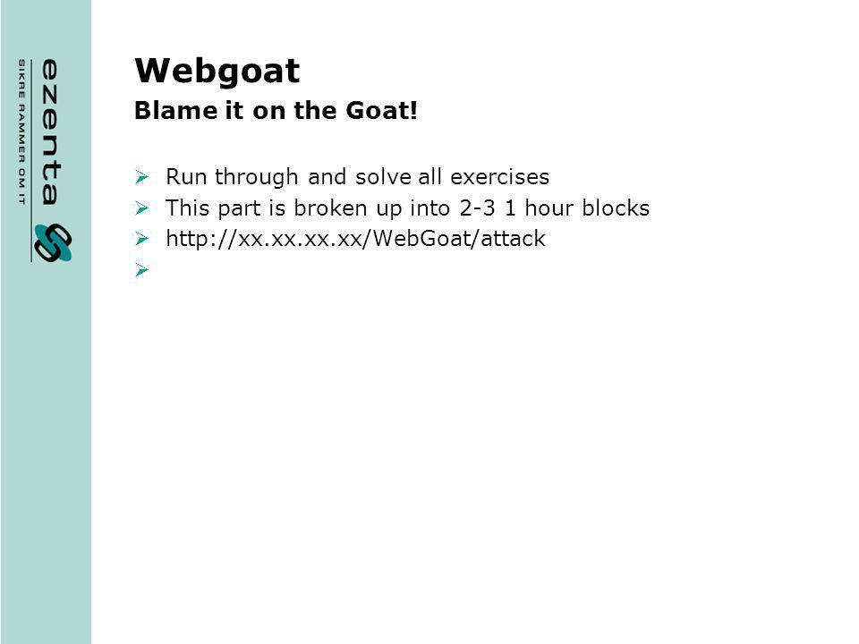 Webgoat Blame it on the Goat! Run through and solve all exercises