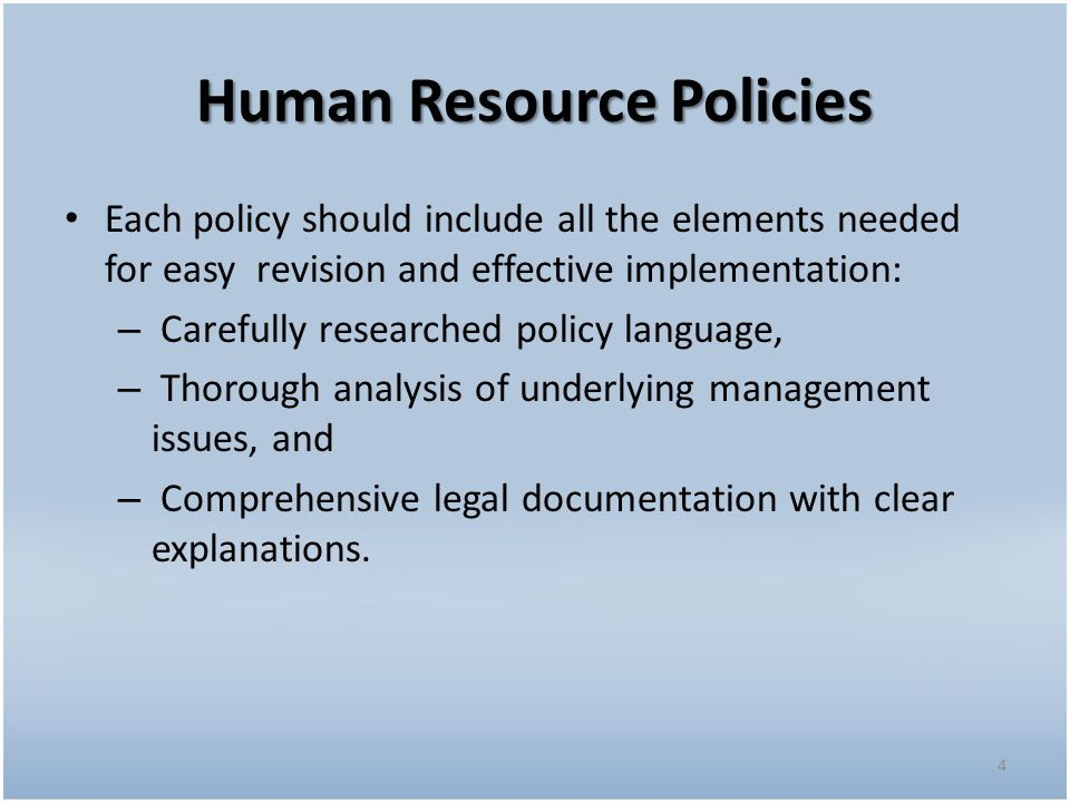 hr policy manual research paper This briefing paper from webster buchanan research explores hr system outsourcing, an arrangement where customers pass responsibility for system maintenance, efficiency improvements and data management to a third party arguing that this is a business decision for hr, not just a.