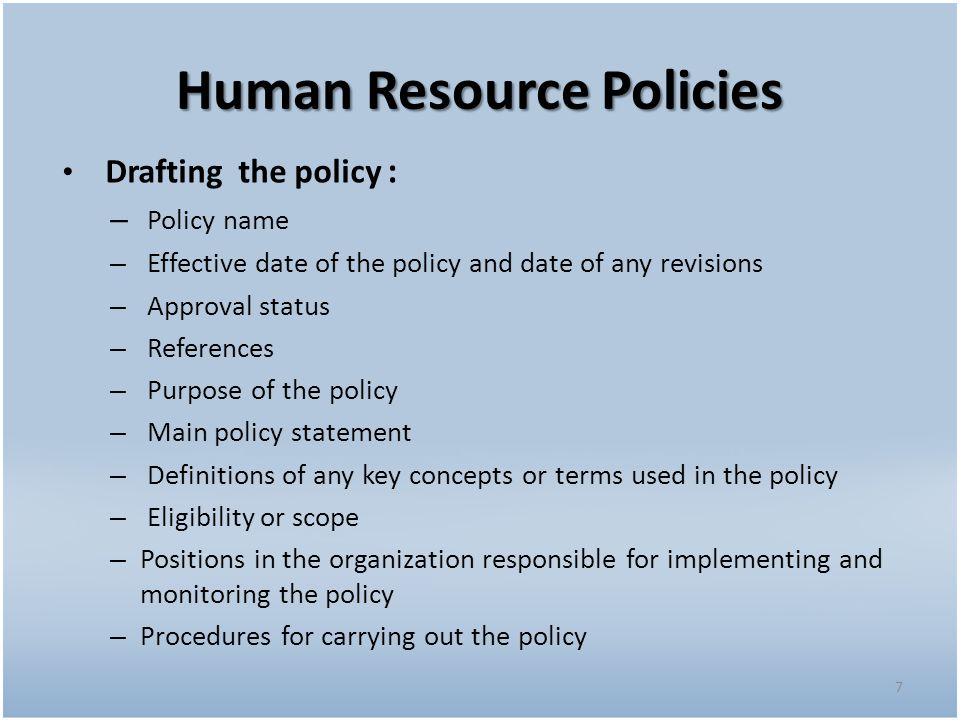 purpose of hr policies and procedures