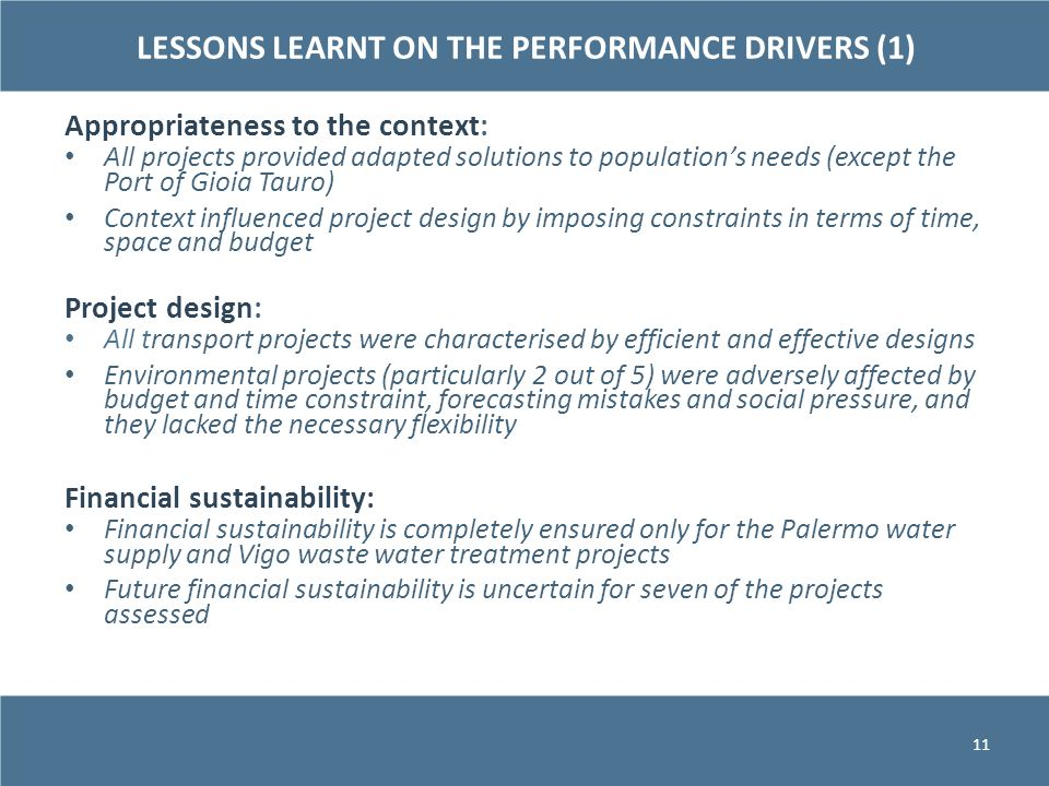 LESSONS LEARNT ON THE PERFORMANCE DRIVERS (1)