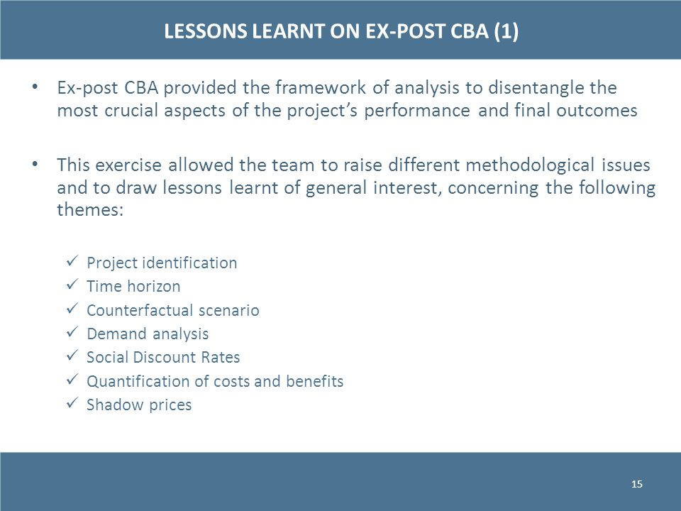 LESSONS LEARNT ON EX-POST CBA (1)