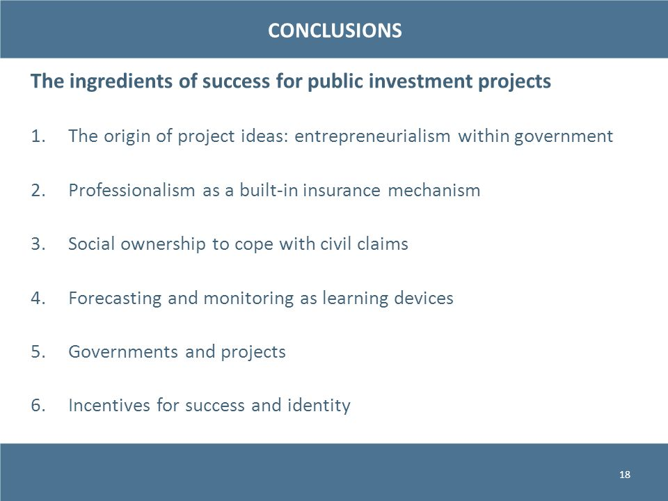 The ingredients of success for public investment projects