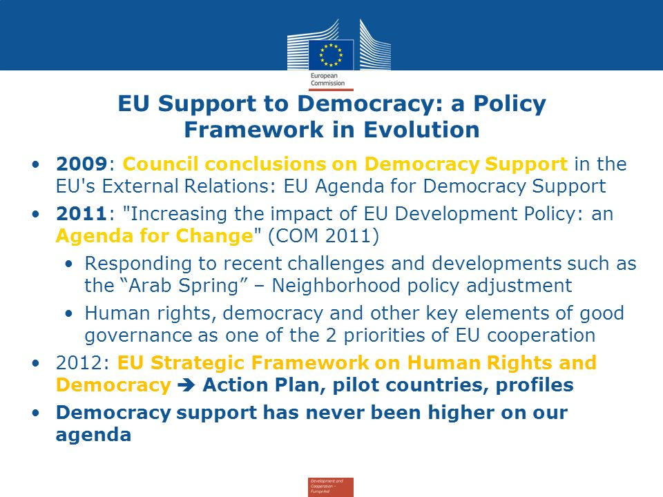 EU Support to Democracy: a Policy Framework in Evolution