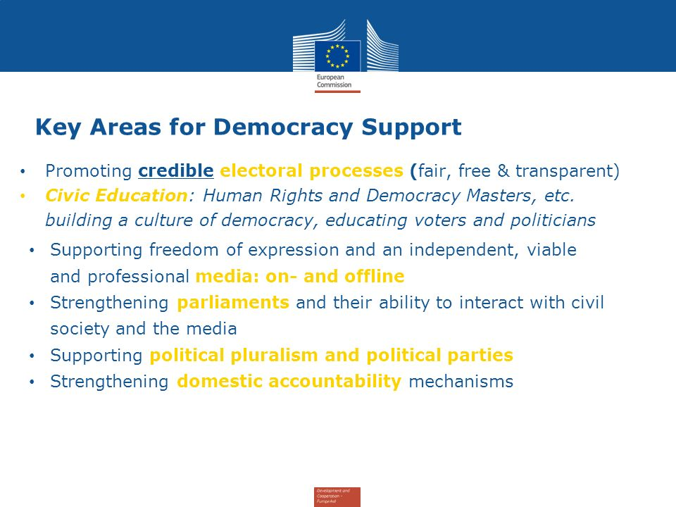 Key Areas for Democracy Support