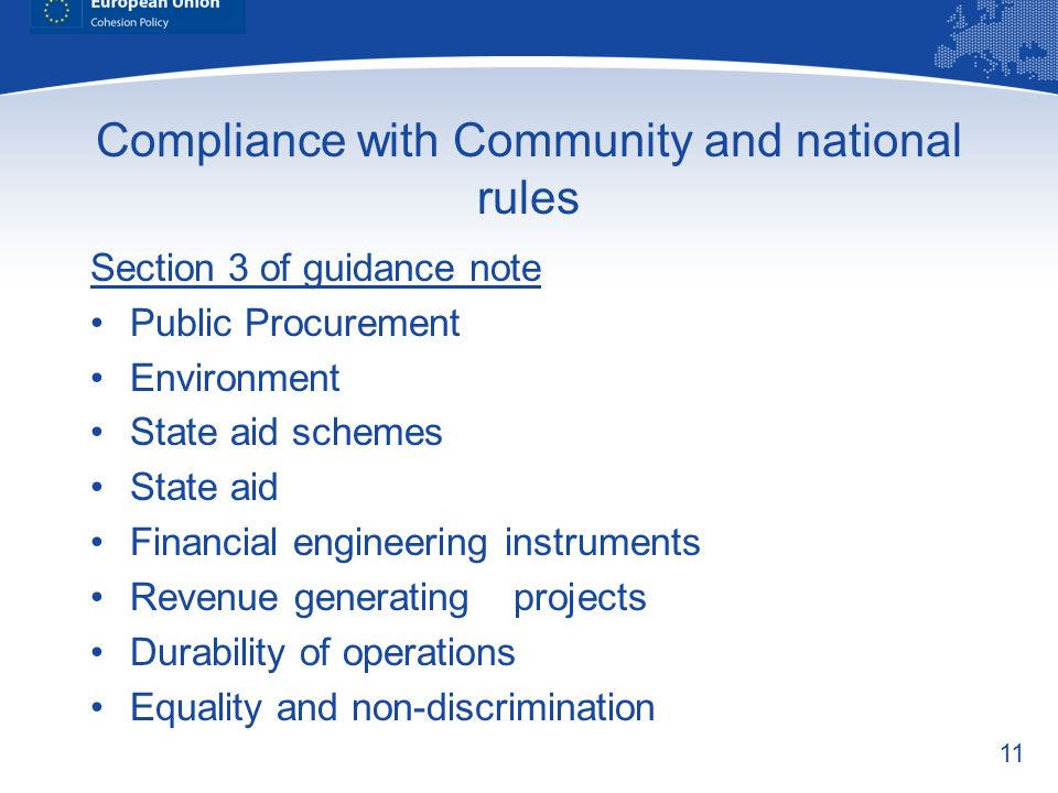 Compliance with Community and national rules