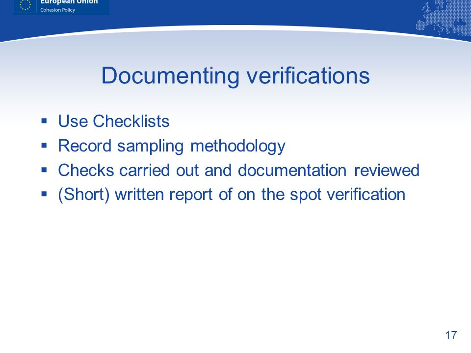 Documenting verifications