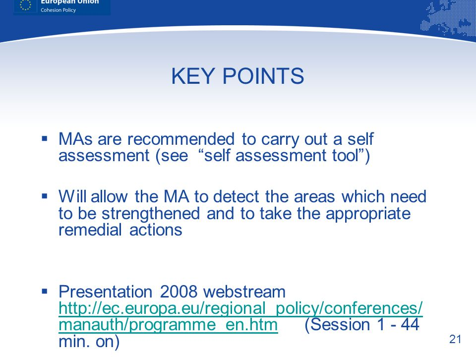 KEY POINTS MAs are recommended to carry out a self assessment (see self assessment tool )