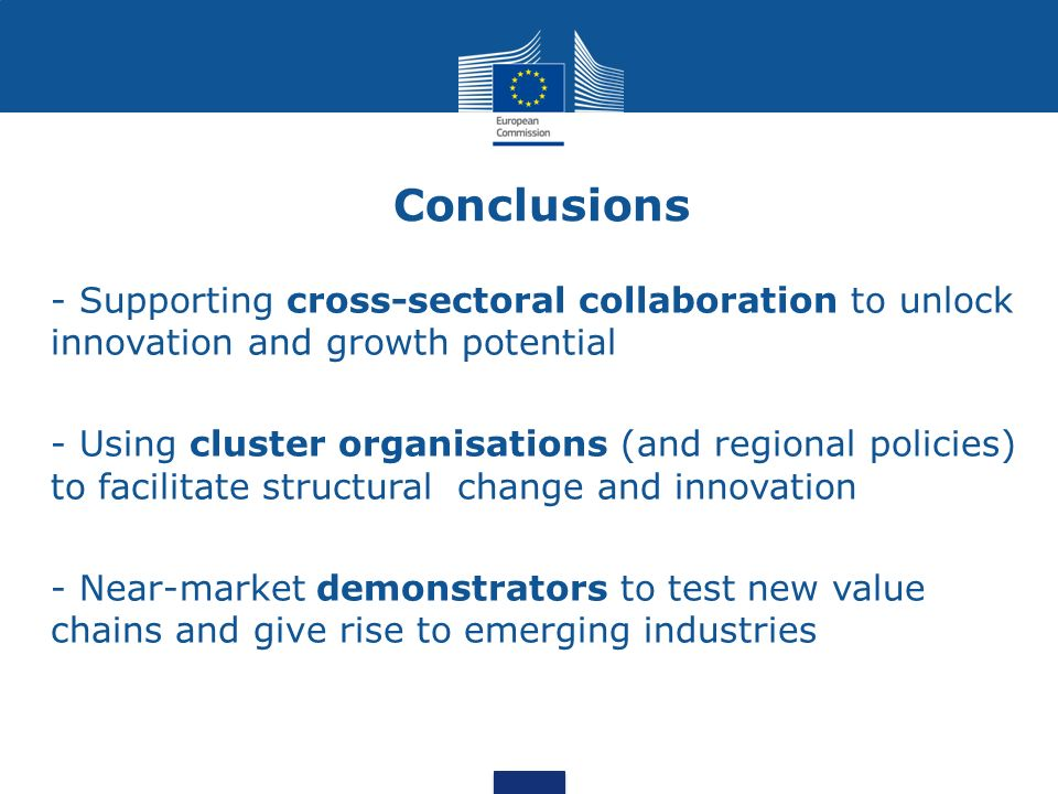 Conclusions - Supporting cross-sectoral collaboration to unlock innovation and growth potential.