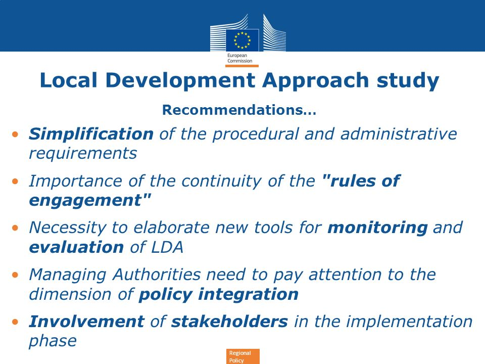 Local Development Approach study Recommendations…