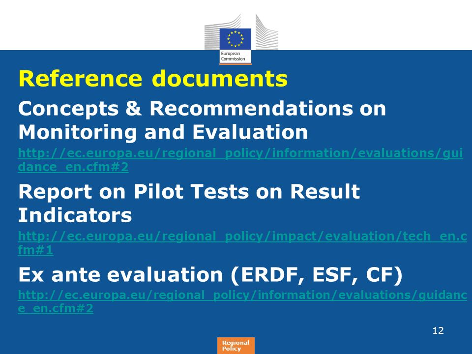 Reference documents Concepts & Recommendations on Monitoring and Evaluation.