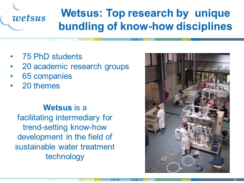 Wetsus: Top research by unique bundling of know-how disciplines